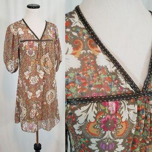 VINTAGE Sheer Babydoll Boho Mini Dress